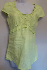 per Una Uk10 Eu38 Us6 Lime Green Linen Cap-sleeved Tie-back Top