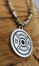 50 KG Weight Plate Barbell  Crossfit Weight Lifting Pendant on Hemp Necklace