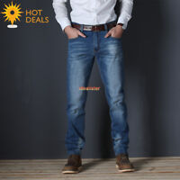 New Men`s Blue Stretch Slim Straight Jeans Business Denim Pants Plus Size 28-48