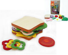 Make Create Own Sandwich Wooden Felt Pretend Play Educational Kitchen Food