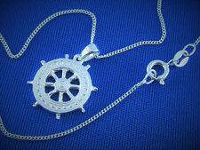 Collier 925 Sterling Silber Maritim Steuerrad Anhänger u Halskette 45cm Kinder
