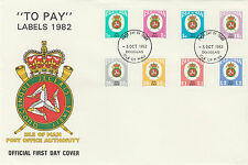 ISLE OF MAN OFFICIAL FDC -  TO PAY LABELS  1982 - ISSUE DATE 5 OCTOBER 1982