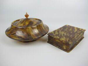 2 x 1920's VTG faux Tortoiseshell Celluloid Trinket Jewellery Boxes - Plastic.