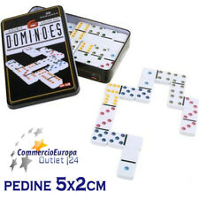 GIOCO DA TAVOLO DOMINO DOMINOES IN METAL BOX 28 PEZZI 5cm x 2cm GAME