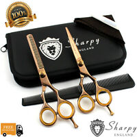 """New Professional Rose Gold Hairdressing Barber & Thinning Scissors Set 5.5"""" Inch"""