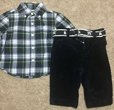NEW Nwt RALPH LAUREN POLO Baby Boys Christmas Holiday Shirt Pants Outfit 18M $65