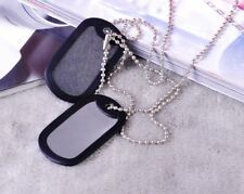 2pcs Silver Matte Military Army Blank Pendant Dog Tag With Stainless Steel Ball