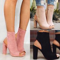 Womens Peep Toe High Block Heel Ankle Short Boots Platform Zipper Sandals Shoes