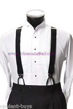 Leather End Stretch Elastic Button On Suspenders Formal Solid Black Braces