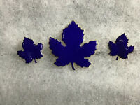 Vintage Navy Blue Enamel Gold Tone Maple Leaf Leaves Clip Earring Brooch Pin Set