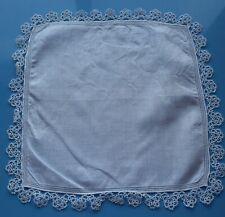 7250 Vintage white linen Hankie, wide tatted border,