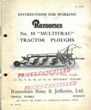 RANSOMES No. 10 MULTITRAC TRACTOR PLOUGH OPERATORS MANUAL