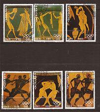 144T2 PARAGUAY serie 6 timbres oblitérés,ATHLETES OLYMPIQUES DE LA GRECE ANTIQUE