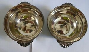Pair of Antique Christofle Silver Plated Bowls with Crowned R II Monogram