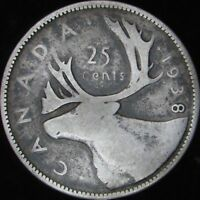 1938 Good+ Canada Silver 25 Cents - KM# 35 - JG