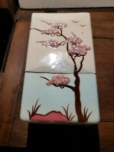 """Vintage Weil Ware Hand Decorated 6 1/2 """" Ming Tree Vase Made in California"""