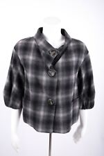 Vince Women's Blazer Jacket Small Gray Plaid Button Front Wool elbow Sleeves