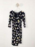 Gina Bacconi New With Tags Wrap Floral Dress Size 12 Navy Blue Mix RRP £170