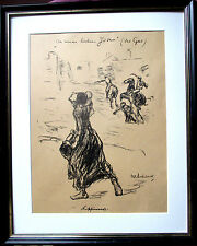 Max Lieberman. à mes chers juifs (le tsar) Lithographie 1914 32x47, cadre,