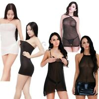Sexy Women Lingerie Babydoll See-through Sleepwear Nightwear Mesh Dress G-string