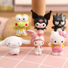 6pcs/set Cute Hello Kitty My Melody Kuromi XO Cinnamoroll Keroppi Figures Toy