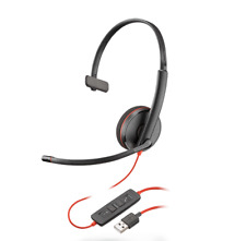 Plantronics Blackwire 3210 Black On The Ear Headsets USB-A 209744101 209744-101