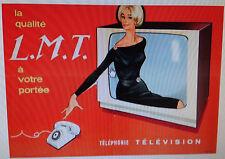 Affiche ancienne vintage Radio  COURONNE. La qualité L M T à votre portée, télé