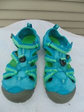 Keen womens/girl size 5 / EU 38 turquoise/lime green closed toe/heel