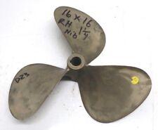 "16 X 16 NIBRAL 3 Blade RH Propeller 1-1/4"" Bore Prop Inboard Wheel 16x16 D23"