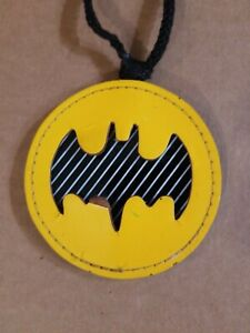 Vintage DC Comics Batman Black/Yellow Logo Pendant Necklace Cardboard/Vinyl