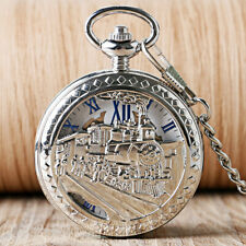 Classic Silver Train Roman Numerals Mechanical Hand-winding Pocket Watch Chain