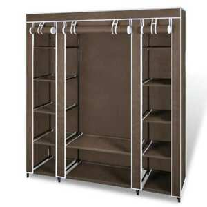 vidaXL Wardrobe with Compartments and Rods 45x150x176 cm Brown Fabric