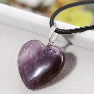 UK Beautiful Amethyst Crystal Gemstone Heart Pendant Black Cord Necklace. Reiki