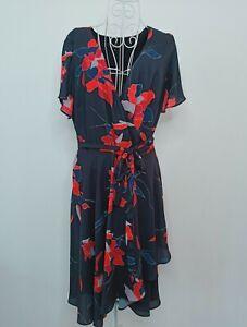 Trent nathan 14 Navy Floral Wrap Dress
