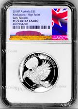 2018 Australia HIGH RELIEF 1oz Silver Kookaburra $1 Coin NGC PF70 +OGP NewLabel