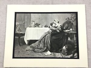 1875 Antique Print Victorian Mother and Daughter Painting David Wilkie Wynfield