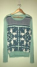 Stitch Fix 41 Hawthorn Beautiful Light Aqua Print L/S Knit Sweater Blouse Small