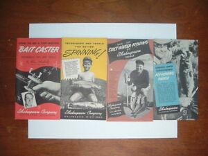 Lot of 4 Vintage Fishing Paper Booklet Shakespeare Company Kalamazoo Michigan