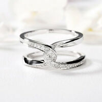 Exquisite White Sapphire CZ Twist Wedding Ring 925 Silver Engagement Jewelry