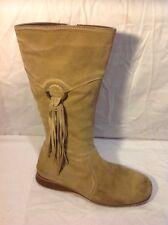 Next Beige Mid Calf Suede Boots Size 39