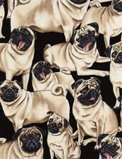 Pugs Fawn Pug Dogs Puppies Pets Animals Black Cotton Fabric Print BTY D770.38