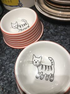 Whittard of Chelsea ceramic hand painted, white + Red stripes cat bowl dish X 2