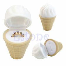 1Pc Velvet Ice Cream Wedding Earring Ring Pendant Jewelry Display Box Gift