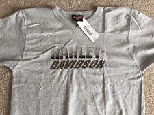 Harley Davidson embroidered logo v neck gray Shirt Nwt Men's Medium
