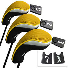 3pack Golf Club Headcover 1 3 5 7 Wood Driver Head Covers Interchangeable Yellow