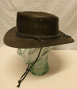 AUSSIE APPAREL LEATHER COWBOY OUTBACK BUSH HAT HANDMADE LEATHER HAT SIZE M NEW