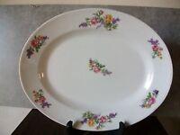 plat ovale en porcelaine de limoges au décor de rose