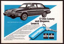 1984 CHRYSLER E Class Vintage Original SMALL Print AD LeaseAbility car art CA EN