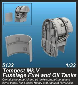 CMK SP5132 Resin 1/32 Hawker Tempest Mk.V Fuselage Fuel and Oil Tanks