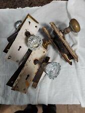 3 Antique Vintage Skeleton Key Door Set WiTh Glass and Brass Knobs